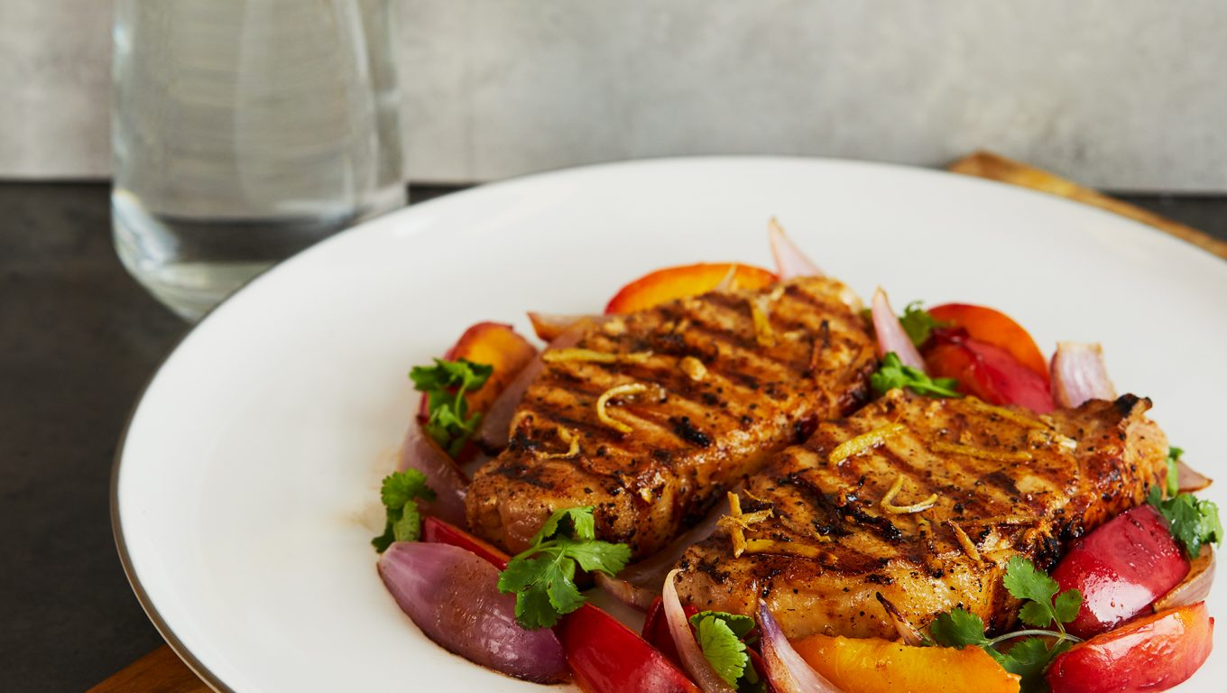 Pork Steaks with Nectarine and Onion Salad