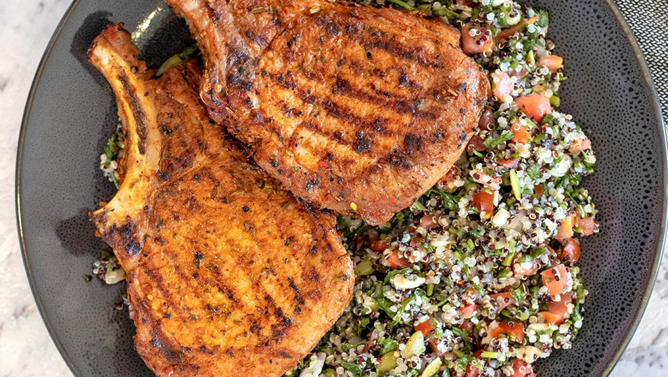 Pork Cutlets with Tabouleh Salad