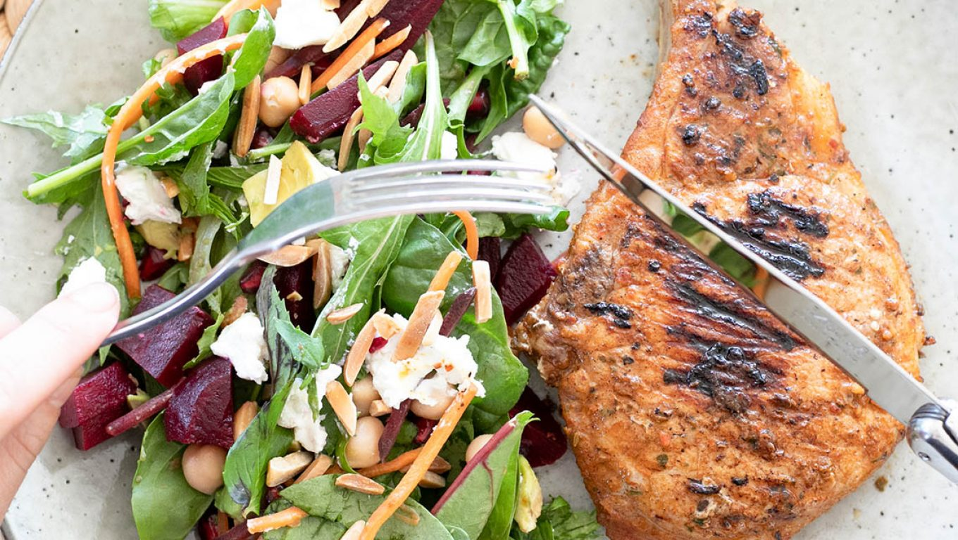 Pork Cutlets with Beetroot and Goats cheese Salad