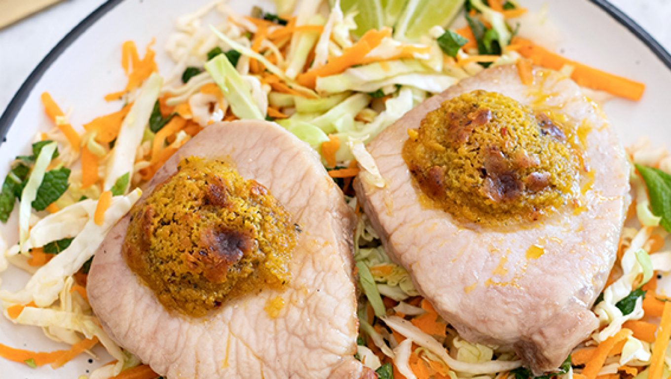 Pork Mignons with Cabbage-Mint Salad