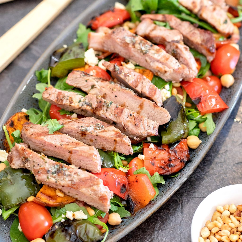 PORK STEAK WITH GRILLED VEGGIES AND FETA SALAD