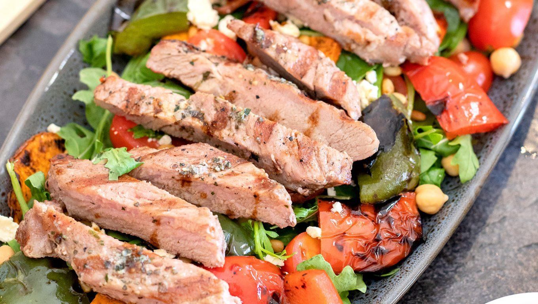 Pork Steak with Grilled Veggies & Feta salad