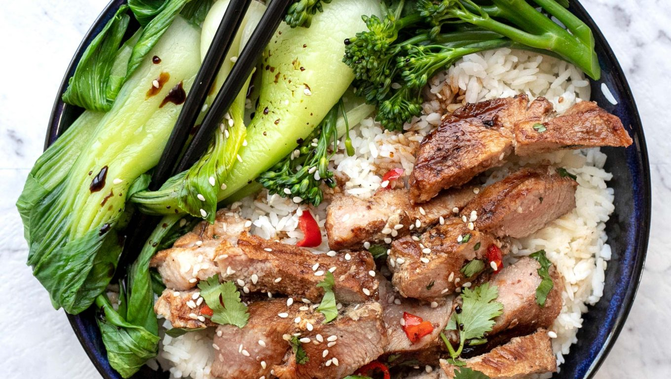 Chili Pork Steaks with Rice and Asian Greens
