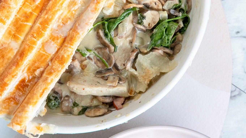 Leftover Pork, Mushroom and Spinach Pie