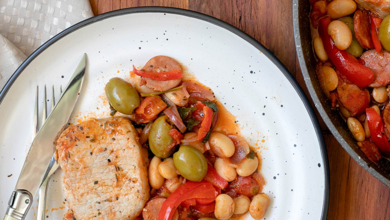 Spanish-Style Pork with Chorizo and Olives